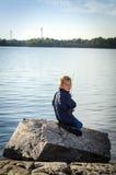 Πορτρέτο του αλιεύοντας αγοριού Στοκ Εικόνες
