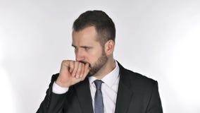 Πορτρέτο του βηξίματος επιχειρηματιών γενειάδων, μόλυνση λαιμού απόθεμα βίντεο