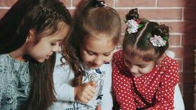 Πορτρέτο του βιβλίου ανάγνωσης φίλων από την εστία στο βράδυ Χριστουγέννων απόθεμα βίντεο