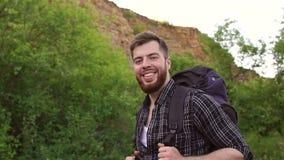 Πορτρέτο του γενειοφόρου ορεσιβίου στα βουνά απόθεμα βίντεο