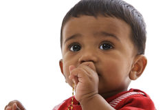 Πορτρέτο του γλυκού ινδικού μωρού, που φαίνεται ευθύ Στοκ Φωτογραφία