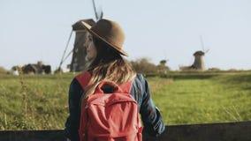Πορτρέτο του ευρωπαϊκού κοριτσιού κοντά στον αγροτικό ανεμόμυλο Το ελκυστικό θηλυκό κοιτάζει γύρω από την απόλαυση του φωτός του  φιλμ μικρού μήκους