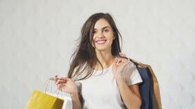 Πορτρέτο του ευτυχούς αγοραστή απόθεμα βίντεο