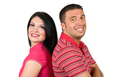 Πορτρέτο του ευτυχούς νέου ζεύγους στο ροζ Στοκ εικόνα με δικαίωμα ελεύθερης χρήσης