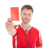 Πορτρέτο του διαιτητή που παρουσιάζει κόκκινη κάρτα Στοκ φωτογραφία με δικαίωμα ελεύθερης χρήσης