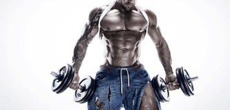 Πορτρέτο του ισχυρού αθλητικού ατόμου ικανότητας που παρουσιάζει μεγάλους μυς στοκ εικόνες