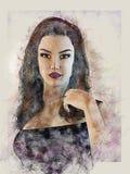 Πορτρέτο του κοριτσιού στο ύφος μολυβιών χρώματος η στενή ηλεκτρονική γραφιστική ανασκόπησης απομόνωσε επάνω το λευκό διανυσματική απεικόνιση