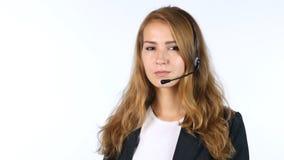 Πορτρέτο του κοριτσιού τηλεφωνικών κέντρων, άσπρο υπόβαθρο Στοκ Εικόνες