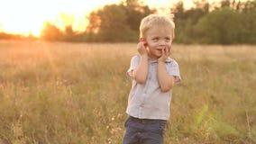 Πορτρέτο του λίγο ξανθού αγοριού στο πάρκο στο ηλιοβασίλεμα απόθεμα βίντεο