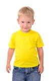 Πορτρέτο του μοντέρνου μικρού παιδιού στο κίτρινο πουκάμισο στοκ φωτογραφίες με δικαίωμα ελεύθερης χρήσης