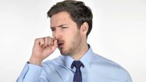 Πορτρέτο του νέου βηξίματος επιχειρηματιών, μόλυνση λαιμού απόθεμα βίντεο