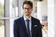 Πορτρέτο του νέου επαγγελματικού ατόμου στο κοστούμι στοκ εικόνα
