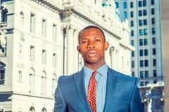 Πορτρέτο του νέου επιχειρηματία αφροαμερικάνων στη Νέα Υόρκη Στοκ εικόνα με δικαίωμα ελεύθερης χρήσης