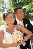 Πορτρέτο του νέου ζεύγους στη ημέρα γάμου Στοκ φωτογραφία με δικαίωμα ελεύθερης χρήσης