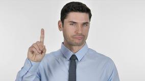 Πορτρέτο του νέου κυματίζοντας δάχτυλου επιχειρηματιών για να αρνηθεί απόθεμα βίντεο
