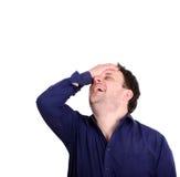 Πορτρέτο του νέου slapping χεριού επιχειρηματιών στο κεφάλι που έχει ένα duh Στοκ εικόνα με δικαίωμα ελεύθερης χρήσης
