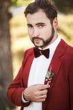 Πορτρέτο του νεόνυμφου στο κόκκινο κοστούμι με έναν δεσμό τόξων, γενειάδα και mustache Στοκ Εικόνες