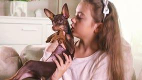 Πορτρέτο του παιδιού και του χαριτωμένου εσωτερικού σκυλιών κατοικίδιων ζώων του στο σπίτι φιλμ μικρού μήκους
