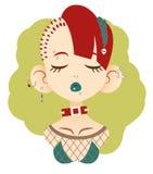 Πορτρέτο του πανκ κοριτσιού με τις ιδιαίτερες προσοχές με τα γαλαζοπράσινα χείλια με Στοκ φωτογραφία με δικαίωμα ελεύθερης χρήσης