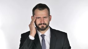 Πορτρέτο του πονοκέφαλου Gesturing επιχειρηματιών γενειάδων, πίεση απόθεμα βίντεο