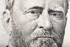 Πορτρέτο του Προέδρου Ulysses S Στενός επάνω επιχορήγησης από την κούκλα 50 στοκ εικόνα με δικαίωμα ελεύθερης χρήσης