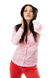 Πορτρέτο του προκλητικού νέου brunette Στοκ φωτογραφία με δικαίωμα ελεύθερης χρήσης