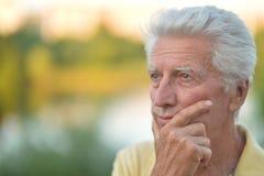 Πορτρέτο του στοχαστικού ανώτερου ατόμου στο πάρκο Στοκ Εικόνες
