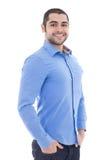 Πορτρέτο του όμορφου αραβικού επιχειρησιακού ατόμου στο μπλε πουκάμισο που απομονώνεται Στοκ Φωτογραφία