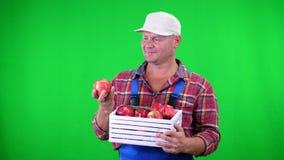 Πορτρέτο του όμορφου αρσενικού αγρότη που κρατά ένα ξύλινο κιβώτιο με τα κόκκινα ώριμα οργανικά μήλα, χαμόγελο στο πράσινο υπόβαθ φιλμ μικρού μήκους