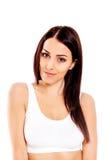 Πορτρέτο του όμορφου κατάλληλου κοριτσιού στο στηθόδεσμο Απομονωμένος στο λευκό Στοκ Φωτογραφίες