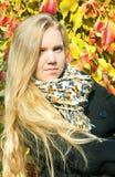 Πορτρέτο του όμορφου κοριτσιού με τα φύλλα φθινοπώρου Στοκ φωτογραφία με δικαίωμα ελεύθερης χρήσης
