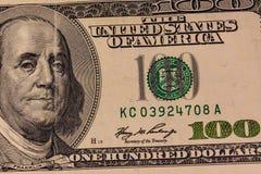 Πορτρέτο του Benjamin Franklin στο λογαριασμό εκατό δολαρίων Στοκ Εικόνες