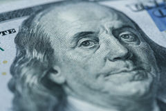 Πορτρέτο του Benjamin Franklin ` s στο λογαριασμό εκατό δολαρίων Στοκ φωτογραφία με δικαίωμα ελεύθερης χρήσης