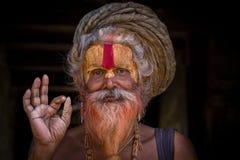 Πορτρέτο του sadhu Shaiva, ιερό άτομο στο ναό Pashupatinath, Κατμαντού Νεπάλ Στοκ Εικόνα