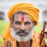 Πορτρέτο του sadhu Shaiva, ιερό άτομο στο ναό Pashupatinath, Κατμαντού Νεπάλ Στοκ Φωτογραφίες