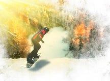 Πορτρέτο του snowboarder που κάνει το ακραίο τέχνασμα Στοκ Εικόνα