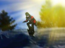 Πορτρέτο του snowboarder που κάνει το ακραίο τέχνασμα Στοκ εικόνα με δικαίωμα ελεύθερης χρήσης