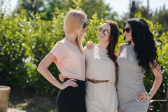 Πορτρέτο τριών εύθυμων φίλων στο θερινό πάρκο στοκ φωτογραφία