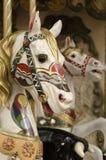 Πορτρέτο των αλόγων ενός εύθυμος-πηγαίνω-κύκλου στοκ εικόνες