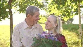 Πορτρέτο των ευτυχών παππούδων και γιαγιάδων στο πάρκο απόθεμα βίντεο