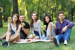 Πορτρέτο των εύθυμων φίλων που κρατούν τα πράσινα μήλα καθμένος στο gra Στοκ Φωτογραφίες