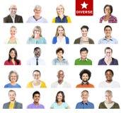 Πορτρέτο των ζωηρόχρωμων διαφορετικών ανθρώπων Multiethnic Στοκ Εικόνες