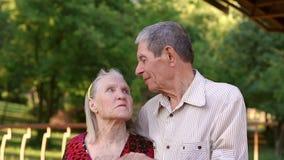 Πορτρέτο των ηλικιωμένων παππούδων και γιαγιάδων στο gazebo πάρκων απόθεμα βίντεο