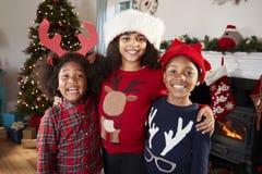 Πορτρέτο των παιδιών που φορούν τους εορταστικούς άλτες και των καπέλων που γιορτάζουν τα Χριστούγεννα στο σπίτι από κοινού στοκ φωτογραφίες με δικαίωμα ελεύθερης χρήσης