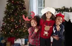 Πορτρέτο των παιδιών που φορούν τους εορταστικούς άλτες και των καπέλων που γιορτάζουν τα Χριστούγεννα στο σπίτι από κοινού στοκ φωτογραφία με δικαίωμα ελεύθερης χρήσης