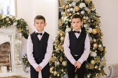 Πορτρέτο των χαριτωμένων δίδυμων αγοριών που χαμογελούν και θέτουν τη στάση στο μη απασχόλησης deco Στοκ Φωτογραφία
