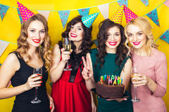 Πορτρέτο των χαρούμενων φίλων που ψήνουν και που εξετάζουν τη κάμερα στη γιορτή γενεθλίων Χαμογελώντας κορίτσια με τα ποτήρια της Στοκ Φωτογραφίες