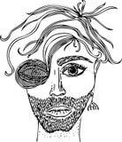 Πορτρέτο φαντασίας σκίτσων του αρσενικού προσώπου Εικόνα, που σύρεται διανυσματική με το χέρι ελεύθερη απεικόνιση δικαιώματος