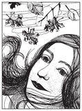 Πορτρέτο φθινοπώρου ενός κοριτσιού Γραπτή απεικόνιση Ελεύθερη απεικόνιση δικαιώματος