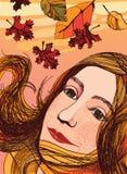 Πορτρέτο φθινοπώρου ενός κοριτσιού Απεικόνιση αποθεμάτων
